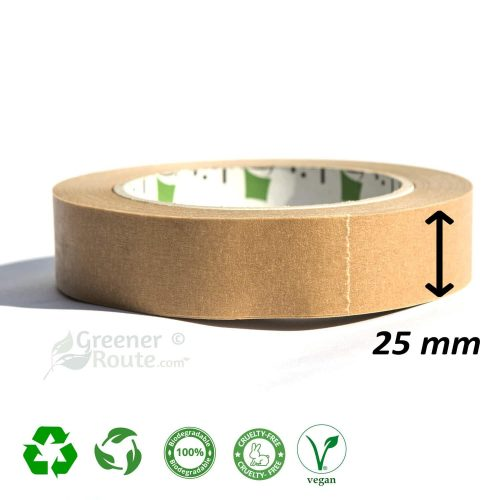 25 mm x 50 meter Brown Paper Framers, Self-Adhesive Kraft Paper Tape - Vegan Friendly - Eco-friendly - Fully Recyclable